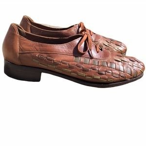 Vintage woven brown leather Oxford flat shoes 7.5